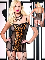 Leg Avenue - Fishnet Garter Dress Leopard 81280