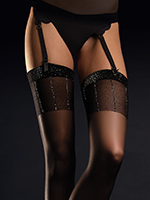 Fiore - Patterned Stockings Hypnose Black