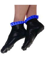 Latex Socks Black With Blue Frills