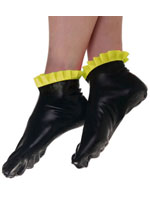 Latex Socks Black With Yellow Frills